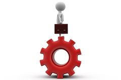 3d man on gear concept Royalty Free Stock Images