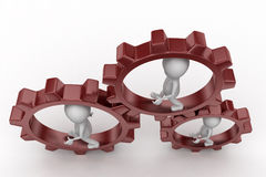 3d man gear wheel concept Royalty Free Stock Images