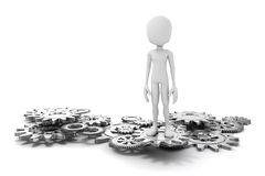 3d man and gear wheels Royalty Free Stock Photography