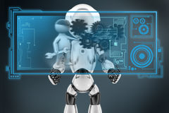 3d man with gear and wrench hologram Royalty Free Stock Images