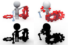 3d man with gears concept collections with alpha and shadow channel Royalty Free Stock Image