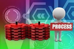 3d man gears process illustration Stock Photo
