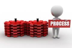 3d man gears process Stock Images
