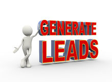 "cartoon man holding up the words ""GENERATE LEADS"""