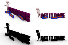 3d man get it done concept collections with alpha and shadow channel Stock Photos