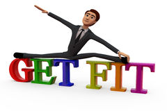 3d man get fit concept Royalty Free Stock Image