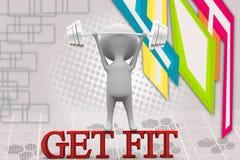 3d man get fit illustration Royalty Free Stock Image