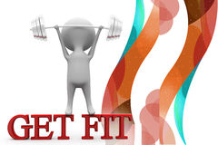 3d man get fit illustration Royalty Free Stock Photo