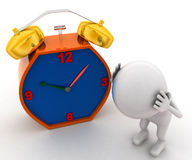 3d man getting headache of alarm clock Royalty Free Stock Photo