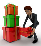 3d man with gift boxes concept Stock Photography