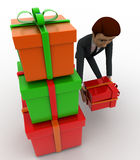 3d man with gift boxes concept Stock Image