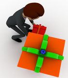 3d man with gift boxes concept Royalty Free Stock Photos