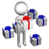 3d Man with gift boxes tied ribbon with a bow Royalty Free Stock Photos