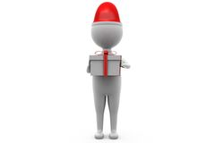 3d man with gift concept Royalty Free Stock Images