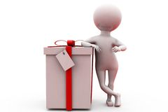 3d man with gift concept Stock Photography