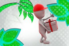 3d man with gift delivery illustration Royalty Free Stock Photography