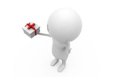 3d man gift in hand concept Royalty Free Stock Photography