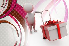 3d man gift and hand truck  illustration Royalty Free Stock Images