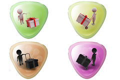 3d man gift on handtruck icon Stock Image