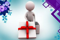 3d man gift  illustration Stock Image
