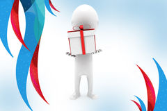 3d man with gift  illustration Stock Photos