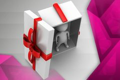 3d man in gift illustration Stock Photos