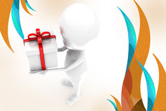 3d man with gift  illustration Stock Photography