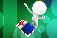 3d man gift slippers illustration Royalty Free Stock Photography