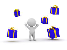 3D man and gifts Stock Photo