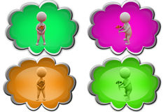 3d man give flower  icon Royalty Free Stock Photography