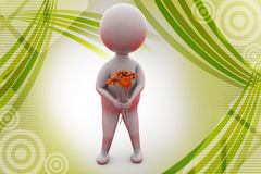 3d man give flower   illustration Royalty Free Stock Images