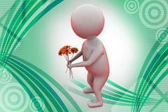3d man give flower   illustration Royalty Free Stock Photo