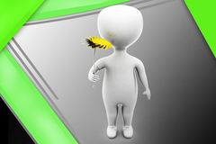3d man give flower illustration Royalty Free Stock Photos