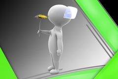 3d man give flower illustration Stock Photography