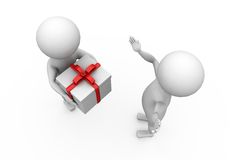 3d man give gift concept Royalty Free Stock Image