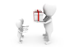 3d man give gift concept Stock Photo