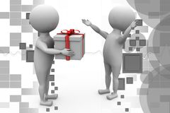 3d man give gift illustration Stock Images
