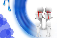 3d man give gift  illustration Royalty Free Stock Images