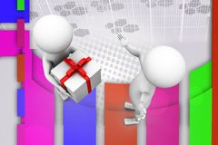 3d man give gift illustration Royalty Free Stock Photo