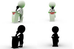 3d man give speech Concept Collections With Alpha And Shadow Channel Stock Images