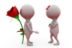 3d man give surprise rose concept Royalty Free Stock Photo