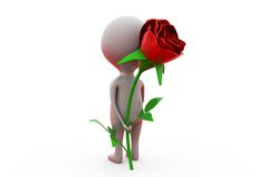 3d man give surprise rose concept Stock Photography
