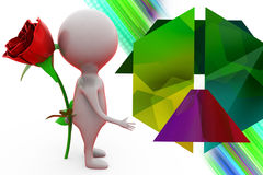 3d man give surprise rose illustration Royalty Free Stock Photo