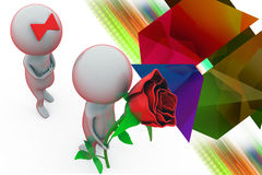3d man give surprise rose illustration Royalty Free Stock Photos