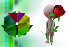 3d man give surprise rose illustration Royalty Free Stock Photography