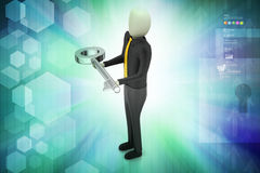 3d man giving golden key to another person Royalty Free Stock Photo