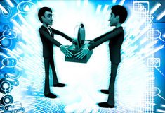 3d man giving heart to another man illustration Royalty Free Stock Images