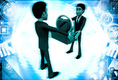 3d man giving heart to another man illustration Royalty Free Stock Photo