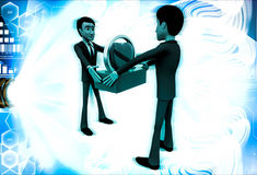 3d man giving heart to another man illustration Royalty Free Stock Photos