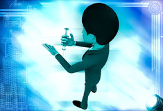 3d man giving injection to himself illustration Royalty Free Stock Photography